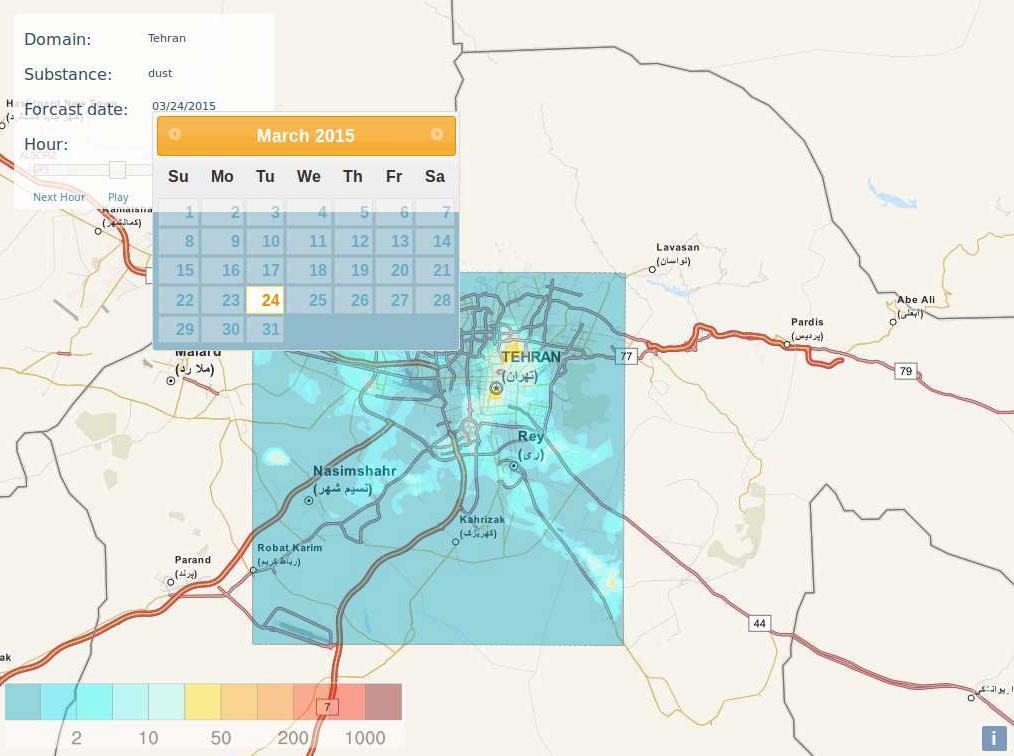 Webbasierte Kartendarstellung von zeitlich aufgelösten Luftschadstoffkonzentrationen