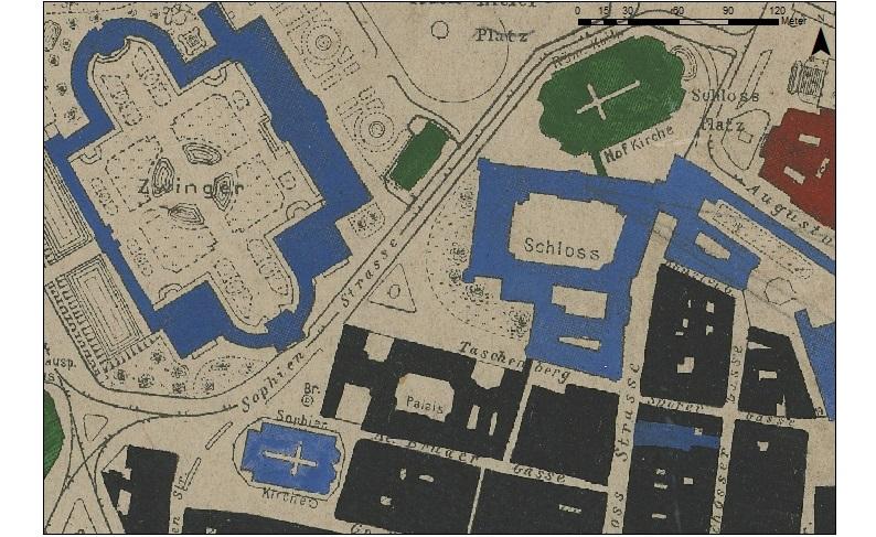 Gebäudeflächen in historischen Karten