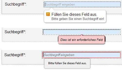Fehlermeldungen in Chrome, Opera, Firefox (v.o.)