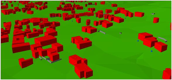 Extrudierte Gebäude in X3D